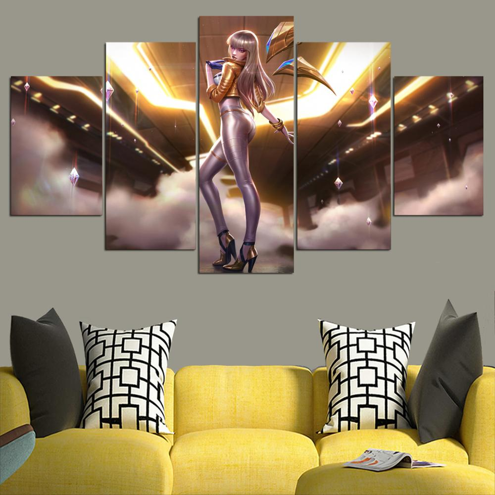 US $15 18 |HD canvas printed painting 5piece kda kaisa prestige edition  league of legends Home decor Poster Picture For Living Room YK 1225-in