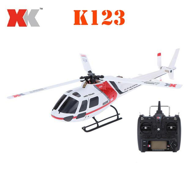 XK K123 6CH Brushless AS350 Scale 3D6G System RC Helicopter RTF Upgrade WLtoys V931 Remove Control
