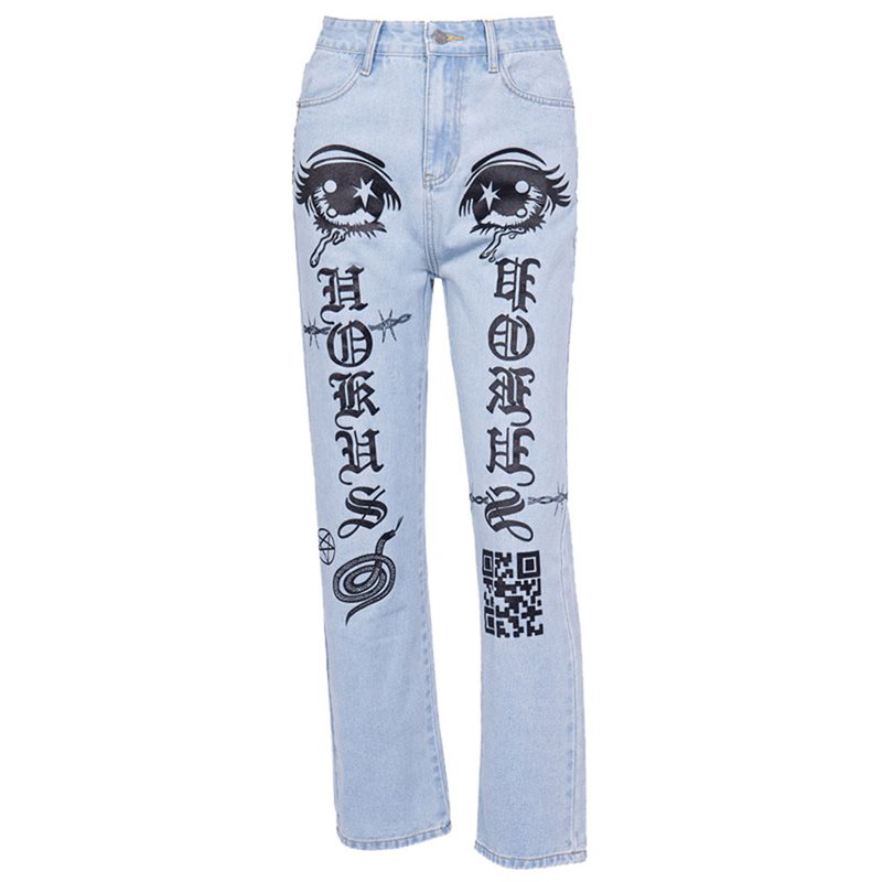 Bottoms 2019 Womens High Waist Ripped Pockets Jeans Denim Pants Blue Button Ankle Length Wide Leg Holes Pants Spring Hot Sales B91202j
