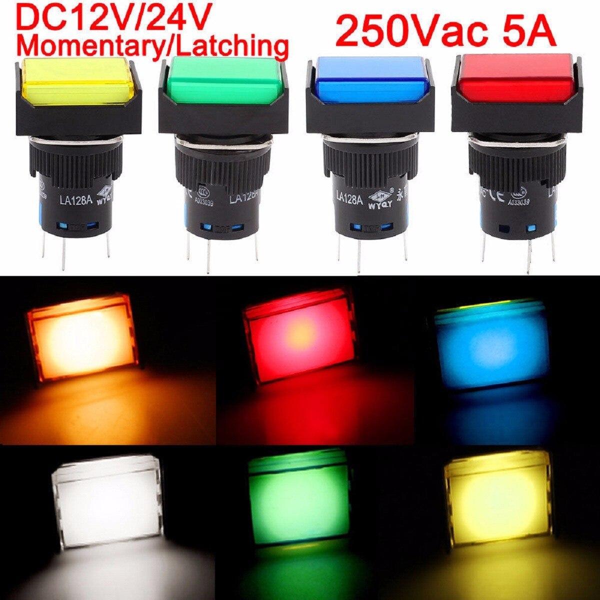 DC12V 24V 25 X Push Button Switch Rectangular led light Momentary Latching 16mm E