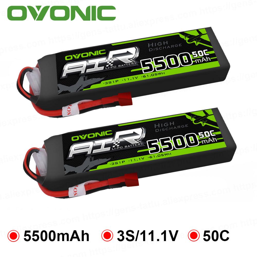 2 paquets Ovonic 5500 mAh 11.1 V LiPo 3 S 50C batterie Deans XT60 T prise pour Erevo VXL 2.0 voiture Heli Quad RC voiture livraison gratuite