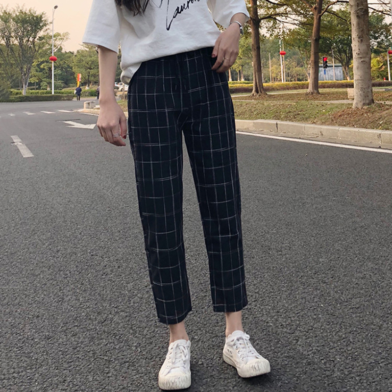 office lady style 2018 summer new fashion high pure color patchwork plaid print elastic waist drawstring long straight pants 4