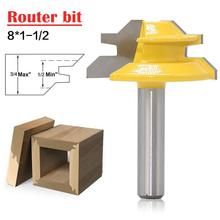 Woodworker Lock Miter Router Bit 45 Degree Width 8*1-1/2 Woodworking Drill Bit 8mm Shank Tenon Cutter Woodwork Milling Cutters 2pcs 2pcs 14 8 14 8mm 14 8 hss reduced shank twist drill bit shank diameter 1 2 inch