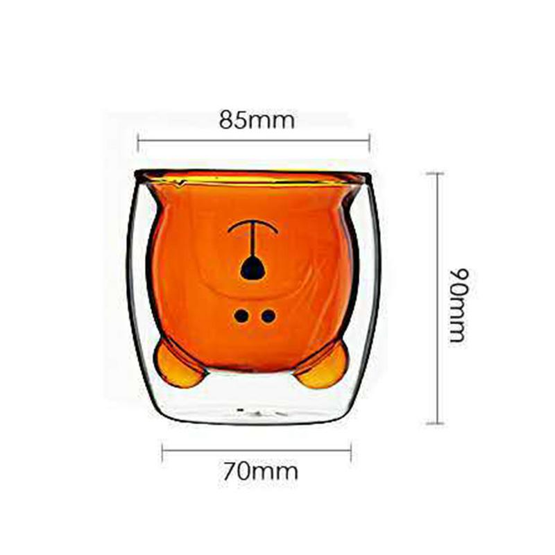 Innovative Bear Glass Cup Double Layer Fresh Fashion Borosilicate Glass Transparent Wine Coffee Cup For Family Parties And Bars in Transparent from Home Garden