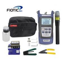 Fiber optic FTTH Tool Kit mit Fiber Cleaver FC6S Optische Power Meter 5KM Visual Fault Locator 1MW Draht stripper miller klemme