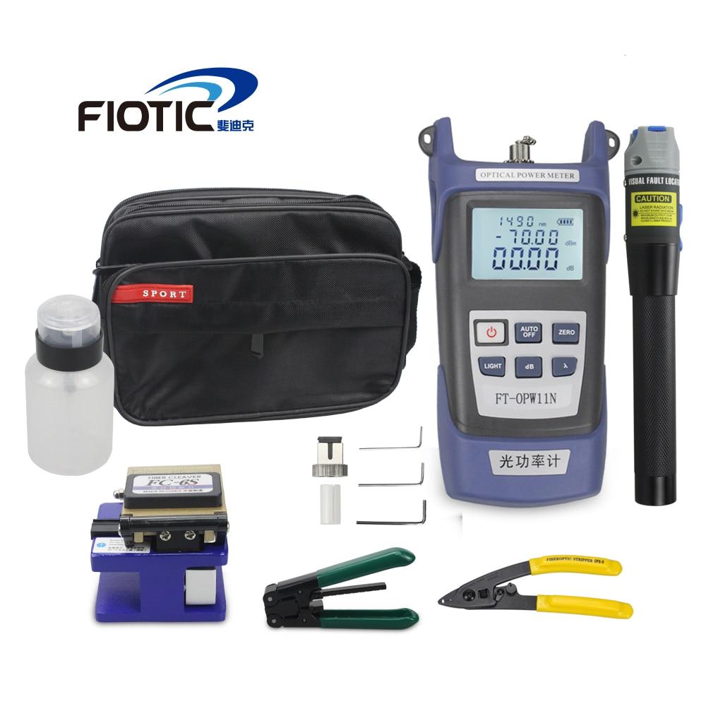Fiber optique FTTH Outil Kit avec Fendoir De Fiber FC6S Optique Power Meter 5 km Localisateur Visuel de défauts 1 mw Fil stripper miller pince