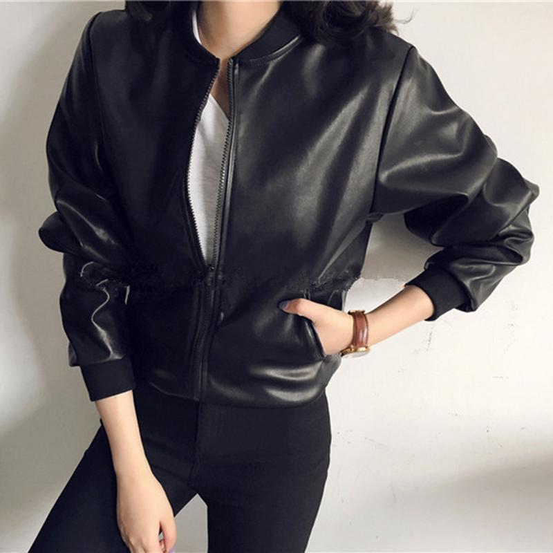 Leather Casual Jacket Coat Women Round Neck Solid Simple Cool Street Style Black PU Jacket Coat Women Europe And American Style