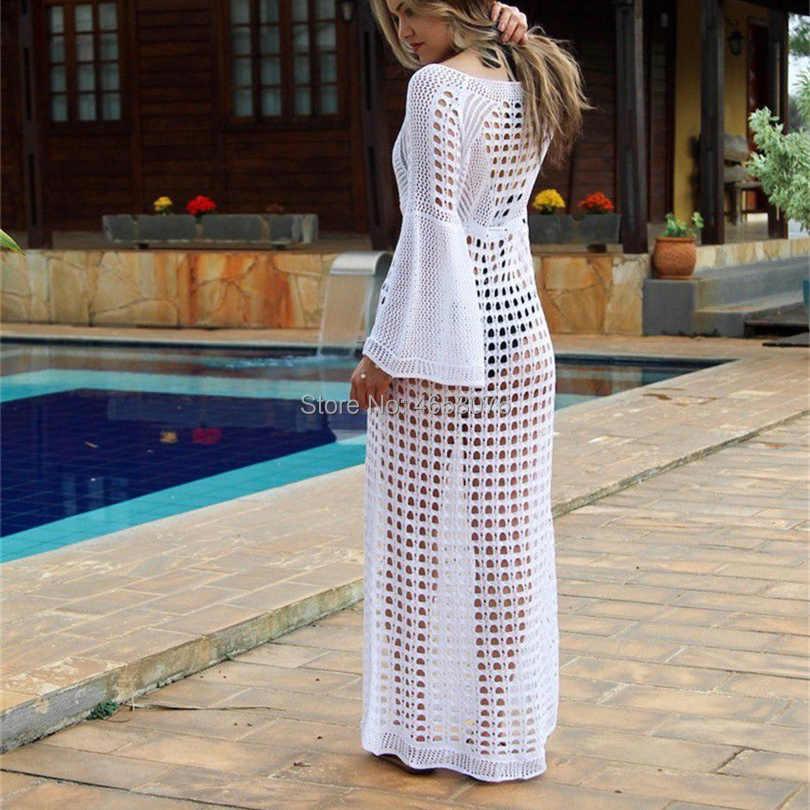 2019 Sexy White Crochet Bikini Covers-Up Casaco de Praia Swimsuit Cover-Ups Beachwear Rendas Malha Bikini Cover- up Vestido Longo Praia