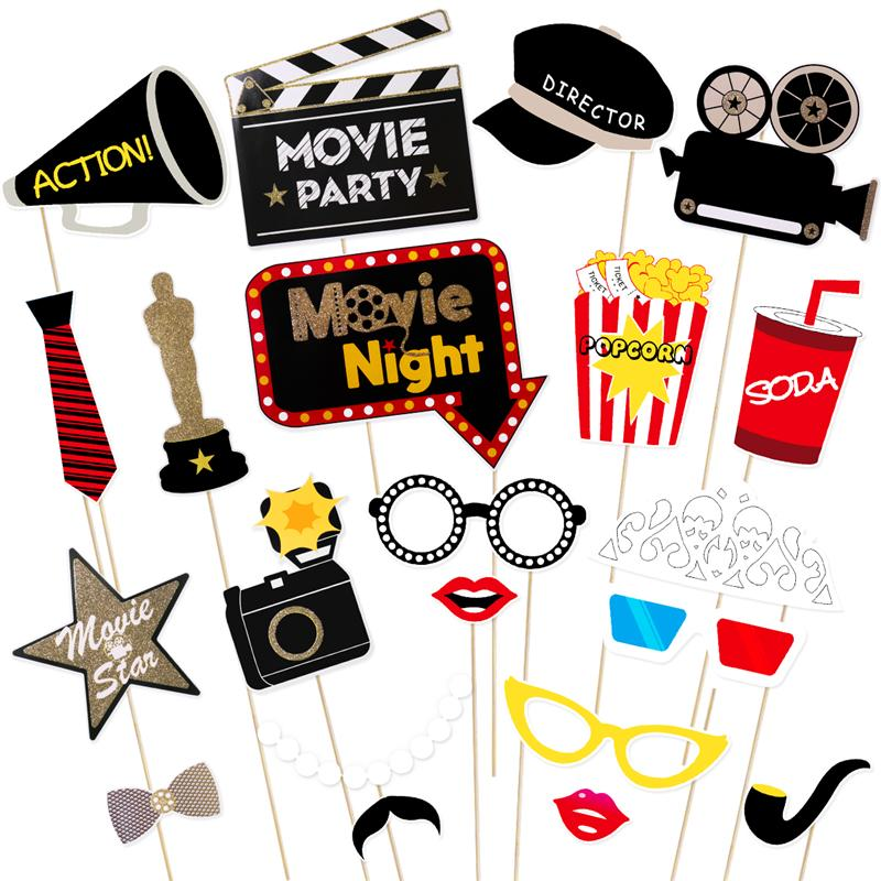 US $7 83 47% OFF Tinksky 21Pcs Mustache Movie Hollywood Photo Booth Props  Photo Signs Adorable Festive Photo Props Set-in Photobooth Props from Home  &
