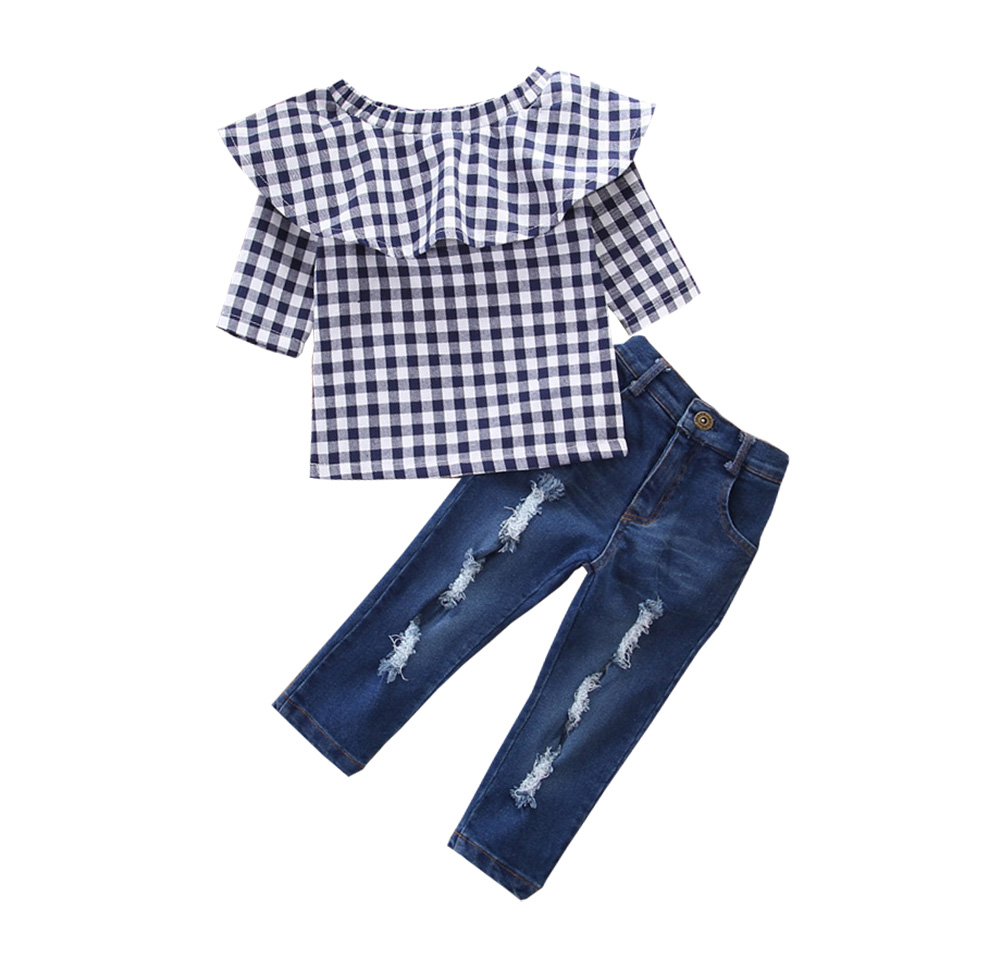 Baby Girls Clothing Set Plaid Tops And Pants Casual Children Kids Clothes SetBaby Girls Clothing Set Plaid Tops And Pants Casual Children Kids Clothes Set