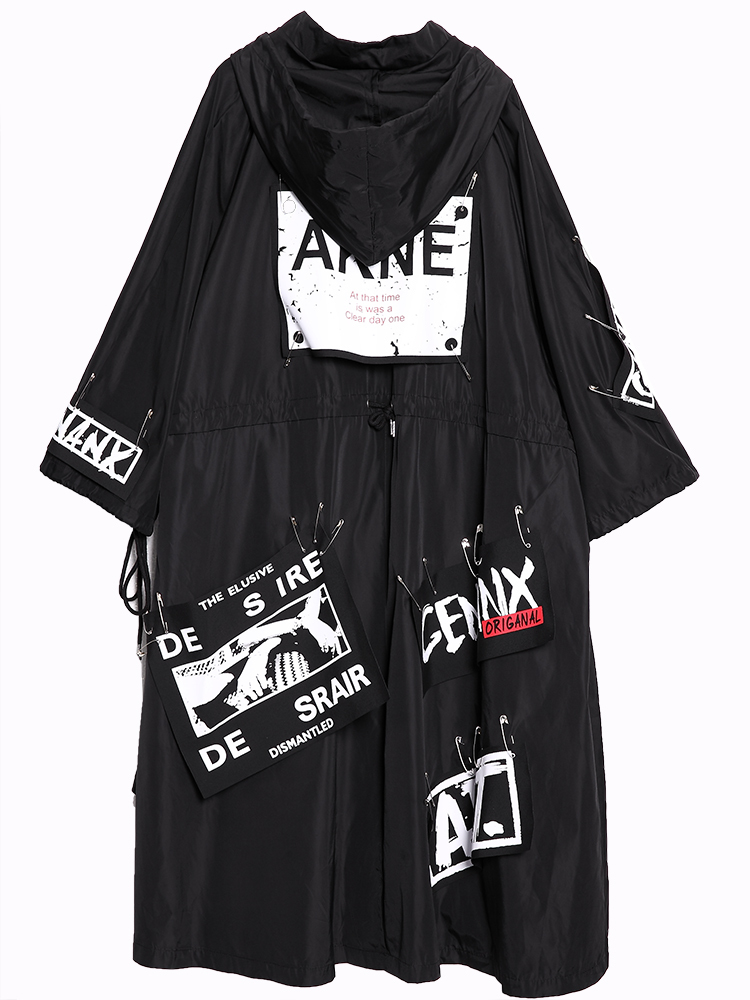 0711 Black Trench Coat For Women Harajuku Oversize Overcoat Letter Printing Casual Hooded Coat Long Fashion Punk Windbreaker in Trench from Women 39 s Clothing