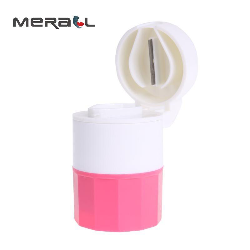 Caixa de pílula cortador 4 camada medicina triturador moedor divisor de armazenamento plástico tablet divisor dispenser saúde rosa caso portátil