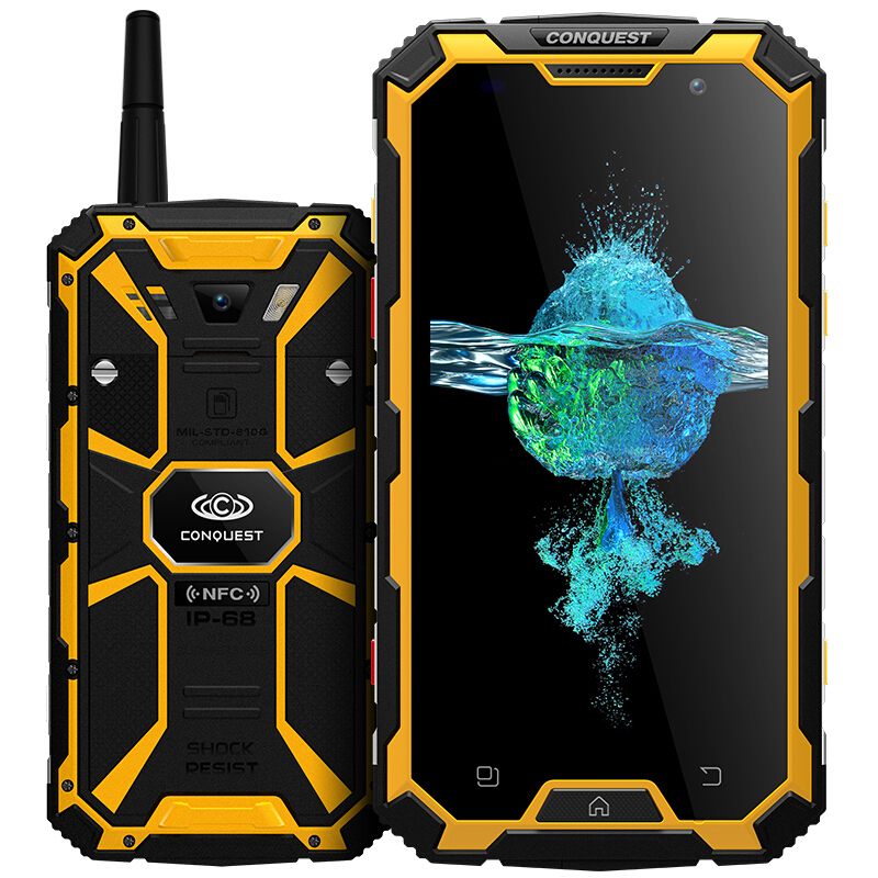 Conquest S8 Smartphone IP68 Waterproof shockproof 4GB RAM 64GB ROM MTK6755 Octa Core Android 6.0 6000mah battery mobile phone
