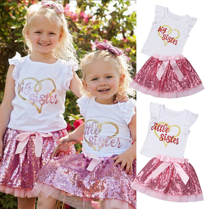 Summer Newborn Kids Baby Girls Big Sister Little Sister Cotton T-shirt Top Skirt Dress Outfits Clothes