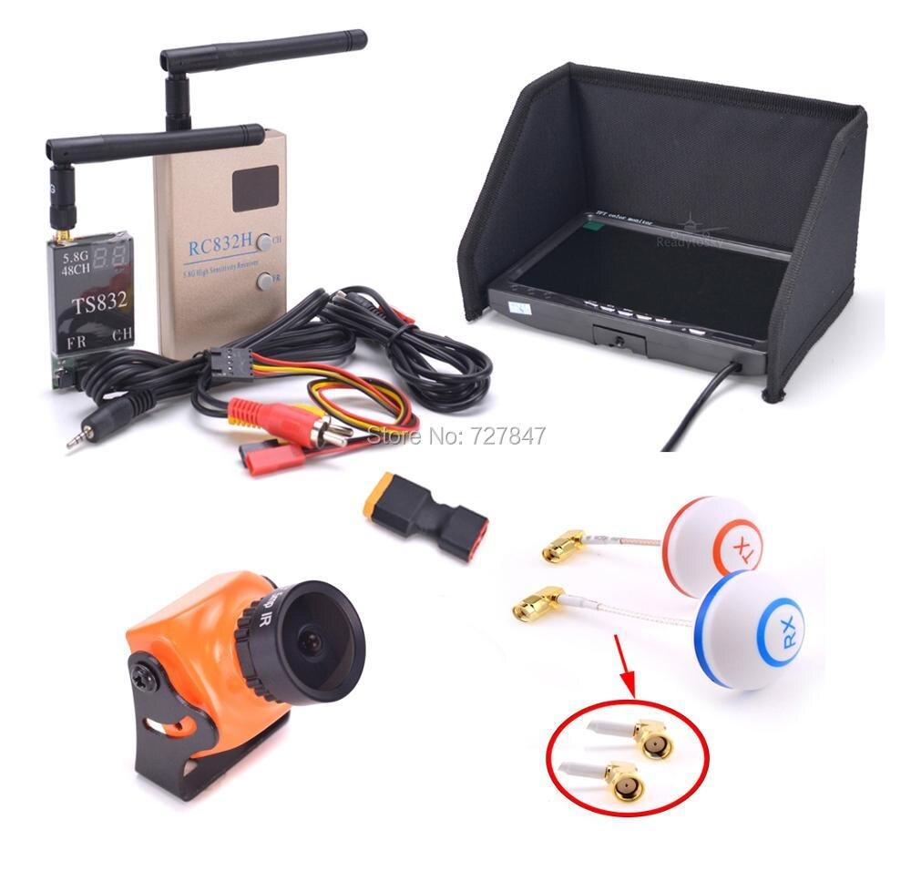 FPV Kit Combo A23 1500TVL caméra 2.1mm/2.3mm + 5.8 Ghz 600 mw 48CH TS832 RC832 + 7 pouces LCD 1024x600 moniteur pour F450 S500 S550