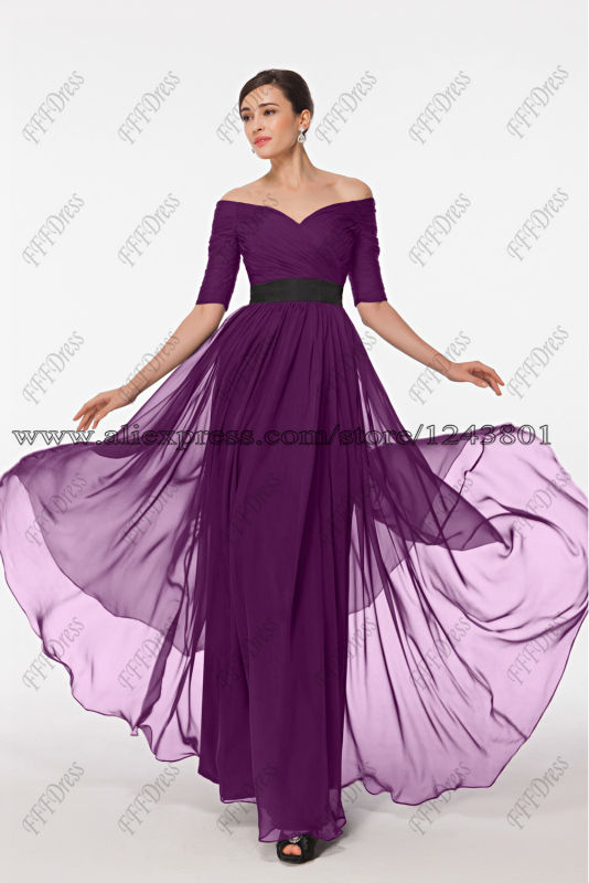 Modest Plum Purple Bridesmaid Dress with Sleeves Elegant Off the ...