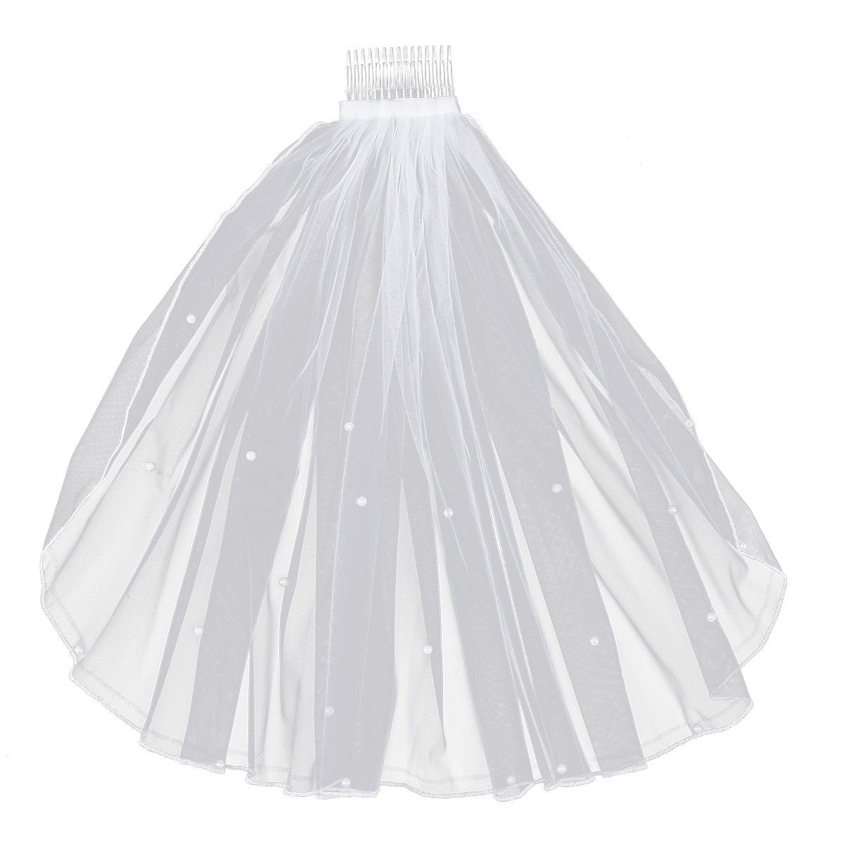 1pc Wedding Veil Chapel Cathedral White Elegent Short Pearl Veil Lace Bridal Veils Wedding Veil With Hair Comb