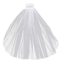1pc Wedding Veil Chapel Cathedral White Elegent Short Pearl Veil Lace Bridal Veils Wedding Veil with Hair Comb(China)