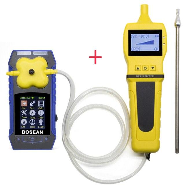 4 ב 1 O2 H2S CO דליק גז גלאי עם סמפלר גז משאבת חמצן פחמן חד חמצני גז Analyzer צג גז דליפת גלאי