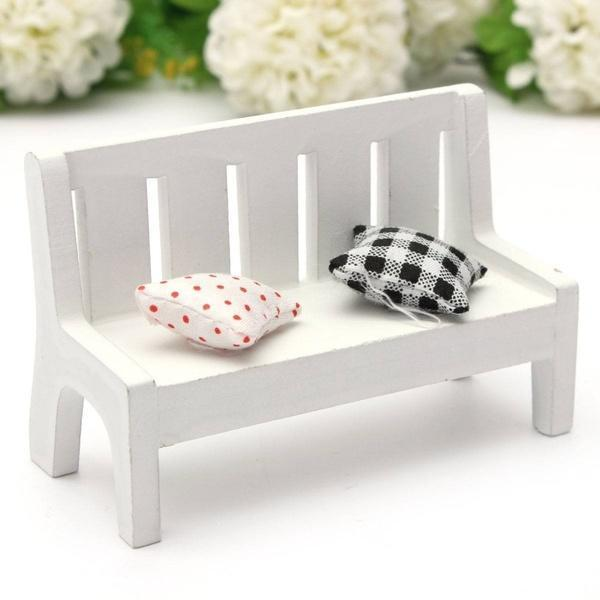 1:12 Mini Wooden Bench Sofa With Pillow For Dolls House