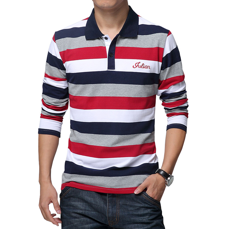 Plus Size Men Polo Collar Shirt 3XL 4XL 5XL Long Sleeve Striped Polo Dress Shirt Male Fashion Classic Cotton Loose Brand Clothes