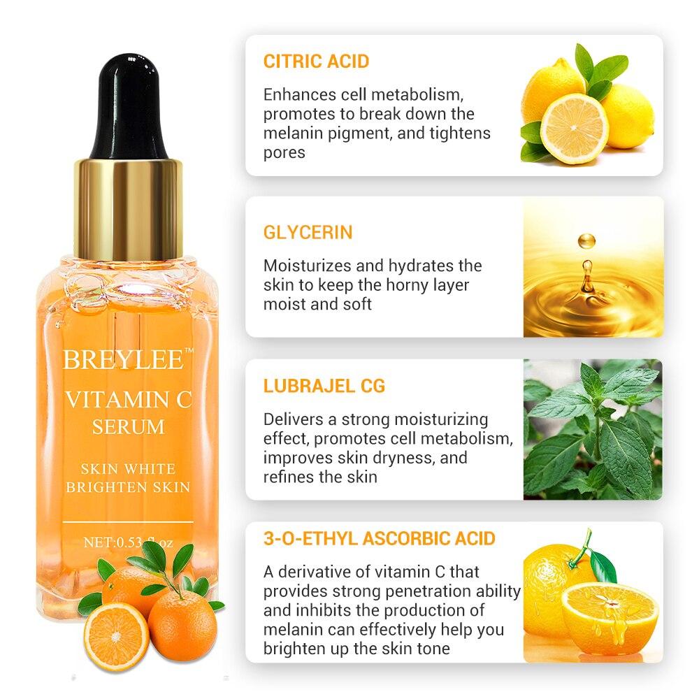 BREYLEE Serum Series Hyaluronic Acid Rose Nourishing Vitamin C Whitening 24k Gold Firming Soothing Repair Face Care Essence 65 in Serum from Beauty Health