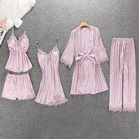 5 Pcs Women Pajamas Rayon Silk Lace Sleepwear With Chest Pad Nightdress+Pant+Cardigan Set Pijama