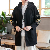 #4316 Embroidery Dragon Kimono Jacket Men Long Plus Size 5XL Black/White Loose Hooded Coat Vintage Coat Traditional Chinese