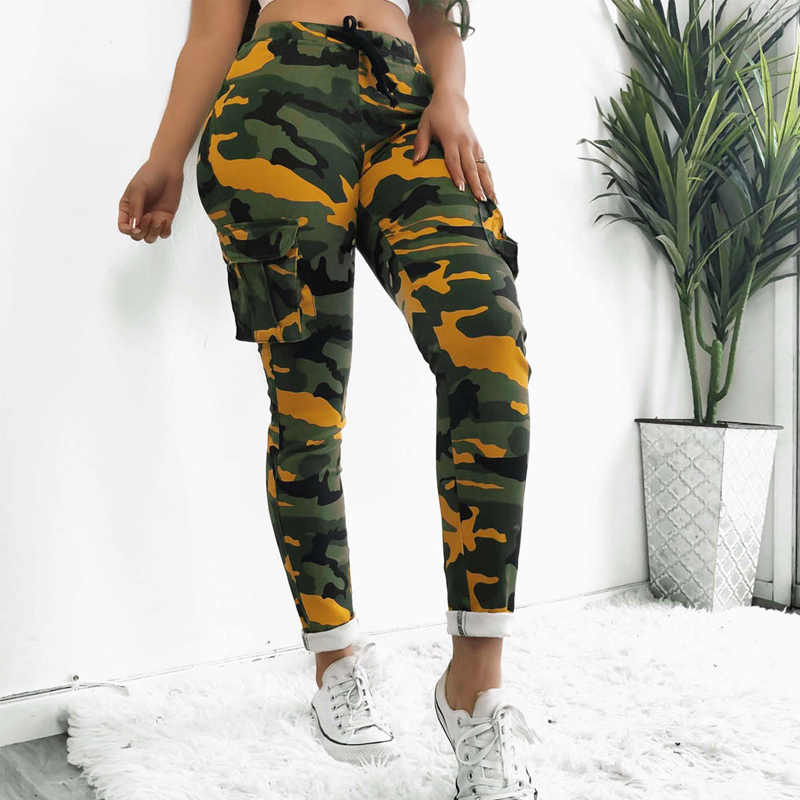 Wojskowe armii walka fajne dziewczyny Cargo spodnie Camouflage drukuj kobiety spodnie dresowe wysokiej talii Hip Hop spodnie motocykl kobiet szczupła