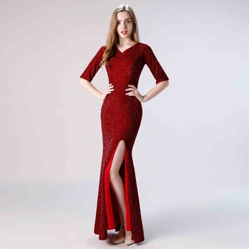 Vivian's Bridal Elegant Women Long Velour Prom Dress 2019 Vintage V-neck Side Slit Half Sleeve Wine Summer Mermaid Party Dress