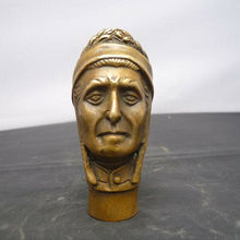 Chinese Old Bronze Hand Carved Indian Man Head Statue Walking Stick Head