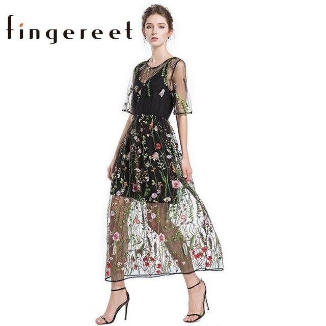 f39eccd8f4 Las nuevas mujeres dulce vestido de Organza de mujer de moda bordado floral  negro fiesta vestido