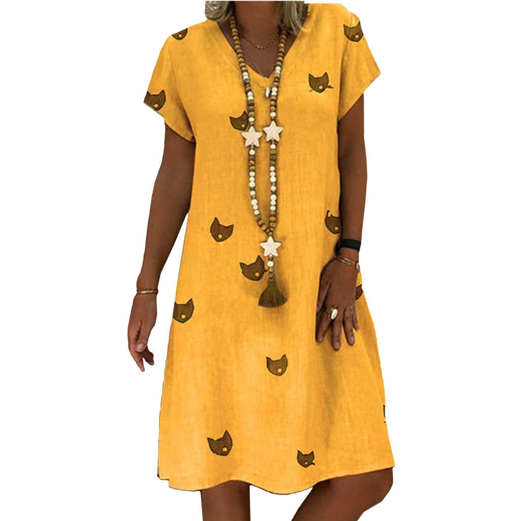 Plus Size S-5XL Summer Dress Women Cotton Cat Print Loose Dress Casual V-Neck Short Sleeve Dresses 2019 Female Sundress Vestidos