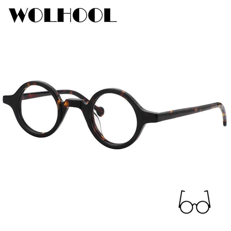 ef52da2548 Acetate Round Fashion Glasses Men Harry Retro Glasses Frames Fake Glasses  with Clear Lens Women Optical