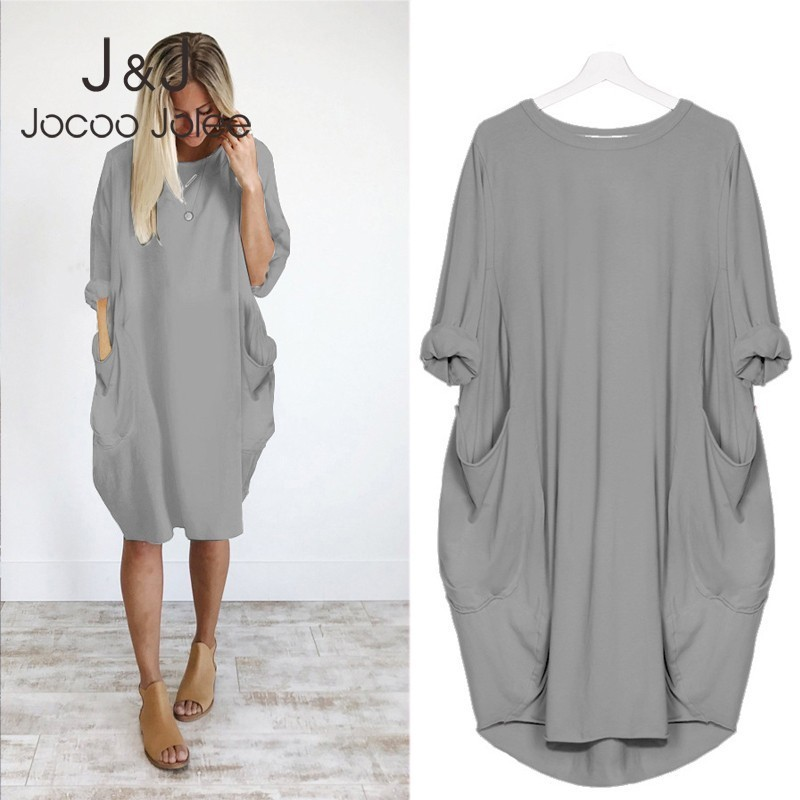 Women Casual Loose Dress with Pocket Ladies Fashion