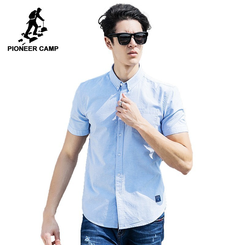 Pioneer Camp 100% Cotton Oxford Shirt Men Slim Fit Shirt Easy Matching Brand Clothing Soft