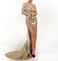 Women Elegant Long Dress Pretty Back Cowl Shine Sparkle Sequin Dress Splits Party Mermaid Dress Gowns