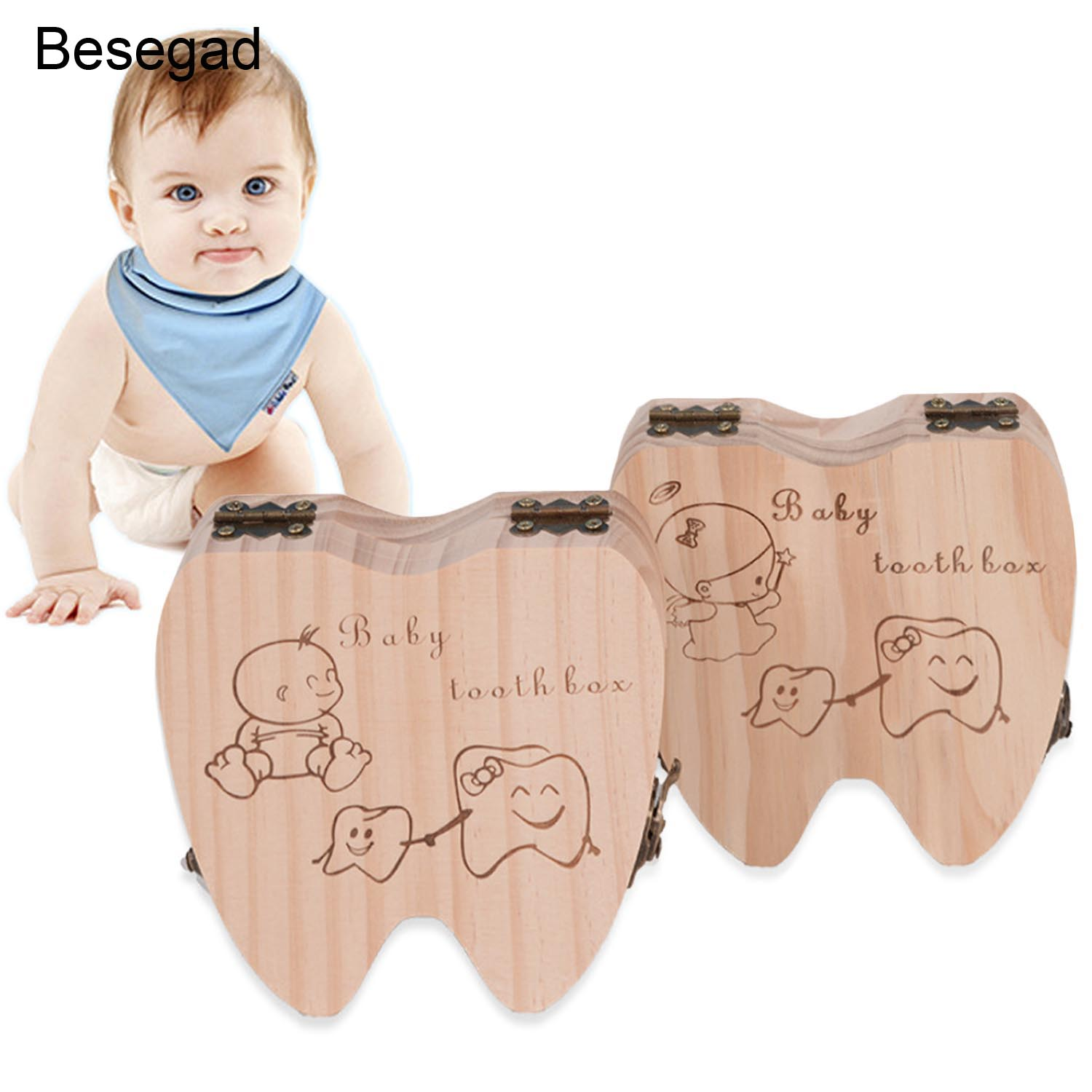 Besegad Lovely Wooden Baby Deciduous Teeth Tooth Storage Keepsake Box Collecting Curl Souvenir Container Organizer For Child Kid