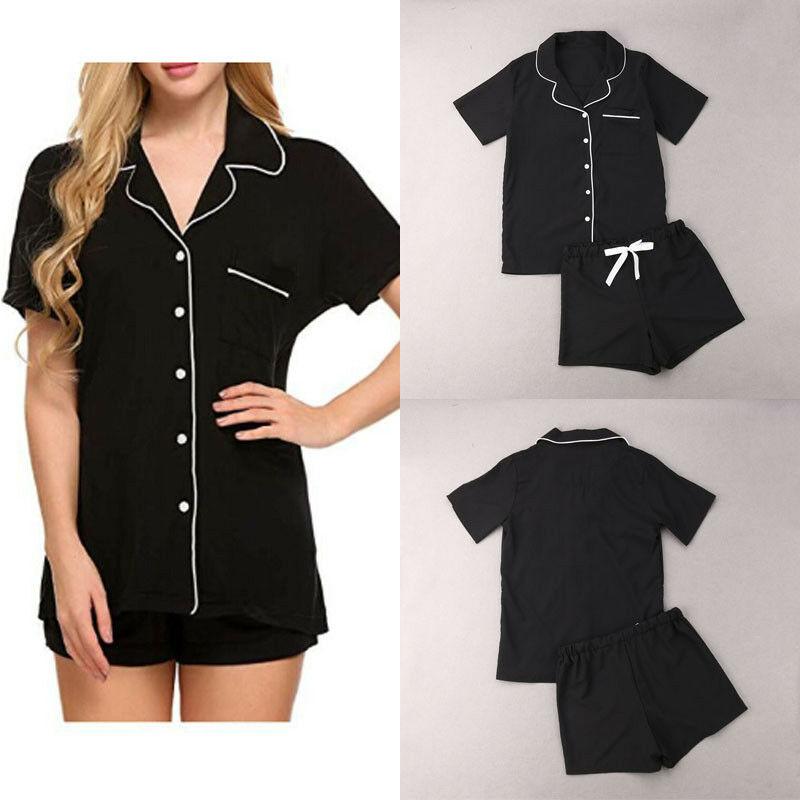 Women\'S Sleepwear Sexy Polka Dots Striped Pajama Set Turn Down Neck Pyjamas Short Sleeve Cute Cami Top And Elastic Shorts Pyjama