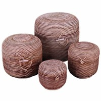 Rattan Weaving Wooden Tea Cake Box Jar With Lid Storage Container For Bulk Products Food Wicker Basket Organizer Easy Lock Cans