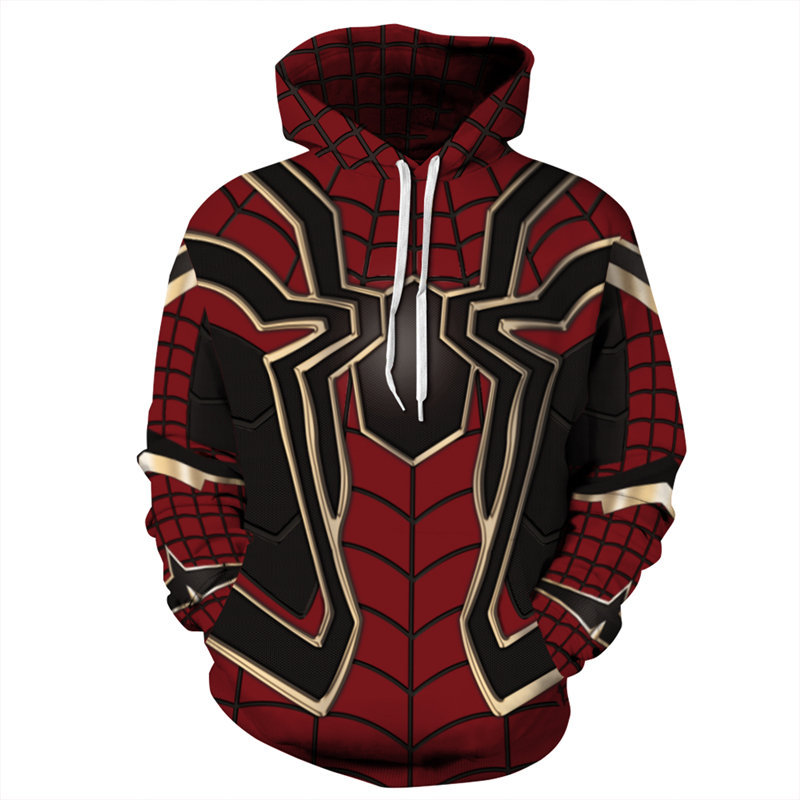 Cosplay Spiderman Print Hoodies Men Hoodie with Hat Round Neck Loose Sweatshirt Pullover Sudaderas Para Hombre Streetwear