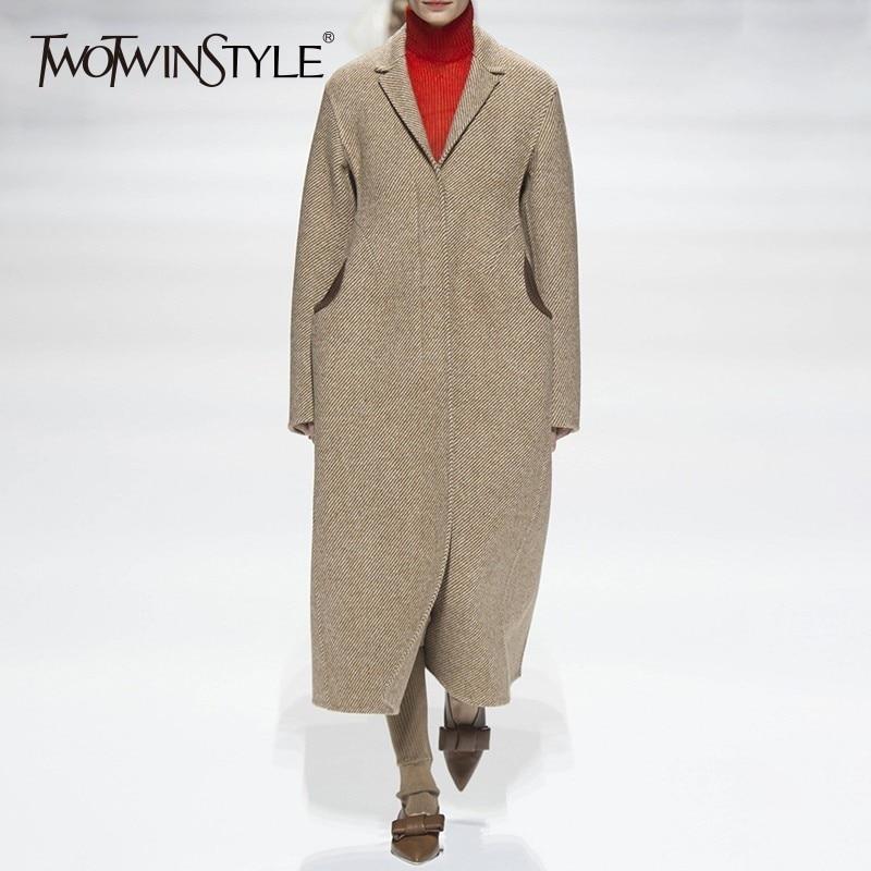 TWOTWINSTYLE 秋冬ストライプコート女性のジャケットロング長袖厚手コートファッションエレガントな服新  グループ上の レディース衣服 からの ウール混紡 の中 1