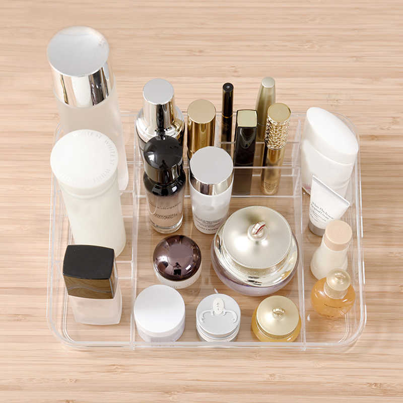 Plastic Makeup Organizer Cosmetic Jewelry Storage Box Lipstick Rack Eyeshadow Brushes Bathroom Container Drawer Display Holder