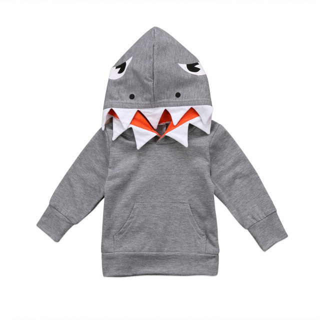 Emmababy Long Sleeve Shark Pattern Hoodie Top For Toddler