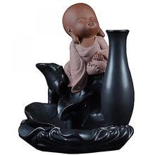 Small Buddha Ceramic Backflow Incense Burner Vase Smoke Waterfall Holder Decorative Home Decor