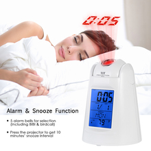 Projection Alarm Clock Sound Control Digital LED Alarm Clock Calendar Thermometer Desktop Clock Hourly Chime Snooze Function