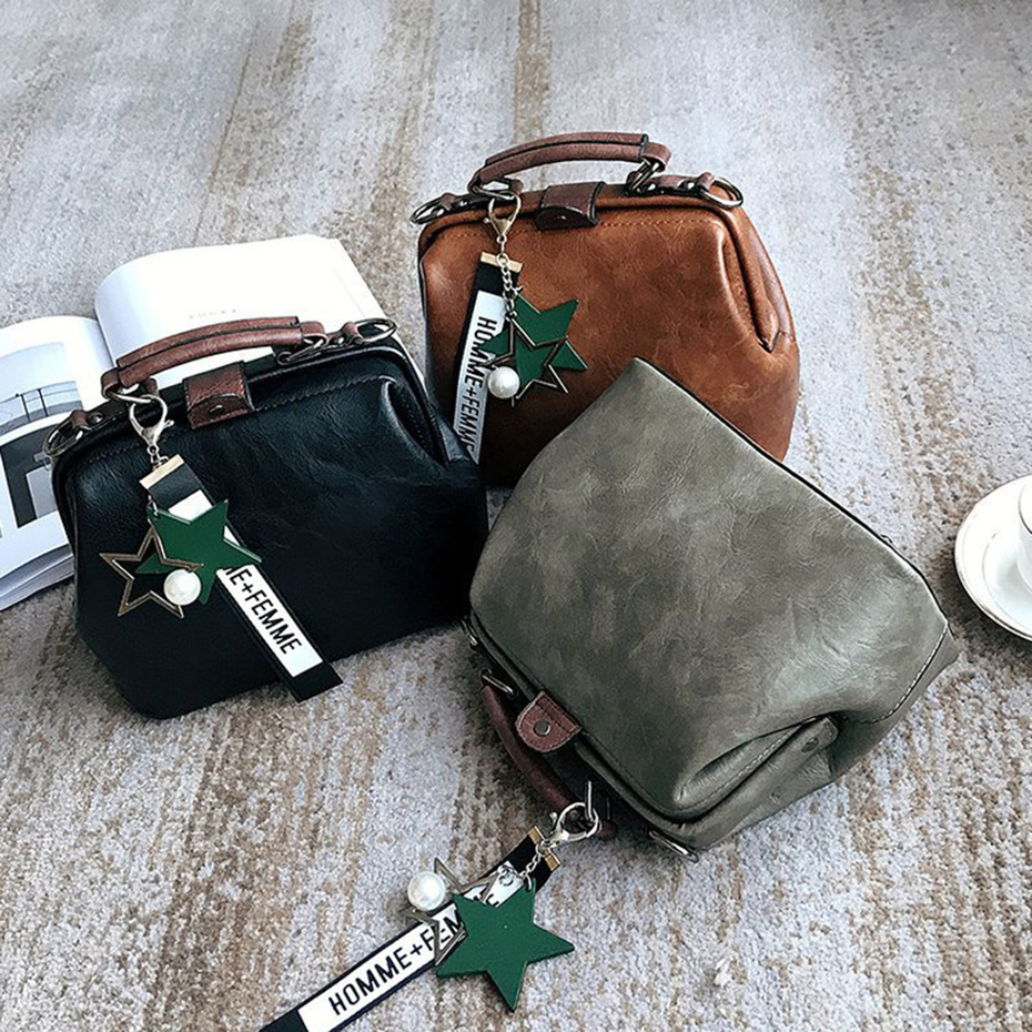 Versatile Female Doctor Bag Women Crossbody Handbag Leather Shoulder Doctors Bag Star Pendant Tassel Rivet Casual Famous Brand in Shoulder Bags from Luggage Bags