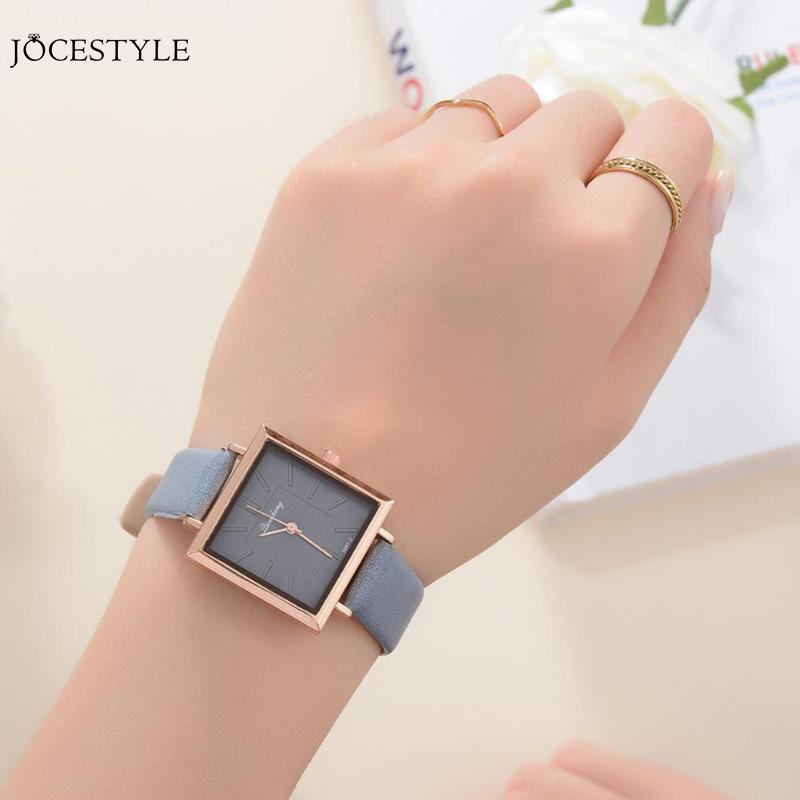 PU Leather Strap Quartz Watches Square Dial Women Simple Analog Wristwatch Women Square Stainless Steel Mesh Watch Dropshipping