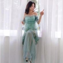 فستان تل طويل بحمالات لون مميز جديد موسم العيد