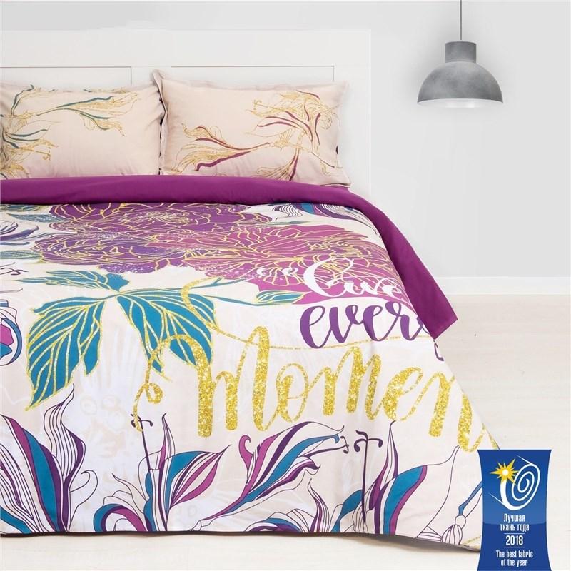 Bed Linen Ethel's Live every moment, euro, 200х217 cm, 220х240 cm, 50х70 (+ 3) cm, 2 pcs, ранфорс bed linen ethel 1 5 cn love 143х215 cm 150х214 cm 50х70 3 2 pcs ранфорс 111g m2